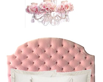 "Los Angeles pickup or drop off only * Upholstered and Deep Tufted ""Addison"" Headboard in Almost Any Color Velvet"