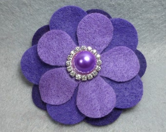 Purple Felt Barrette - Felt Flower Hair Clip