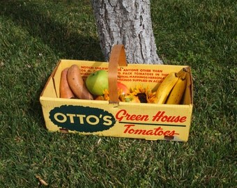 Farmhouse Antiques Produce Basket Large Crate Box Tomatoes Wood Handle Yellow Ottos