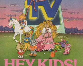 "KIDEO TV, Rainbow Brite, Popples, Lady LovelyLocks, Get Along Gang 8x10.75"" magazine ad"