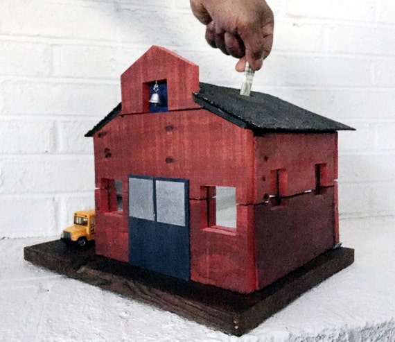 Items similar to wooden coin bank handmade red school bank for Handmade coin bank