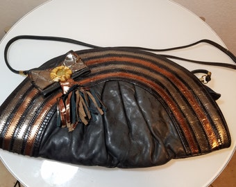 FREE  SHIPPING  1980 Abstract Leather Handbag