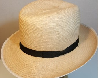 FREE  SHIPPING  Vintage Panama Straw Fedora