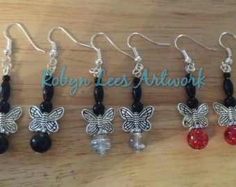 Cute Silver Butterfly Earrings with Silver Butterflies and Black, Red, Clear & Silver beads