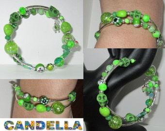 sale/Jewelry Cuff Bracelet memory wire lampwork beads millefiori glass beaded tassel shape memory
