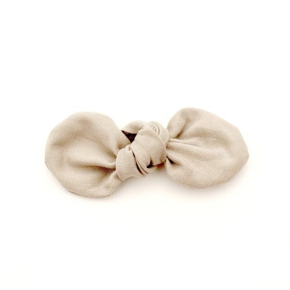 Stone Fabric Bow : Knotty Gal Style on a Clip or Nylon Headband  // Machine Washable
