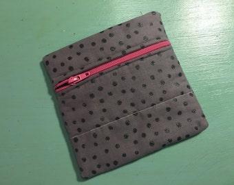 Gray Glitter & Pink Zipper Pouch