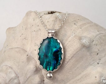 Silver Necklace, Paua Shell Necklace, Abalone Necklace, Beachy Necklace, Silver Chain Necklace, Blue Paua, Pendant Necklace, Silver Pendant