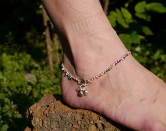 Anklet silver small multicoloured balls 2