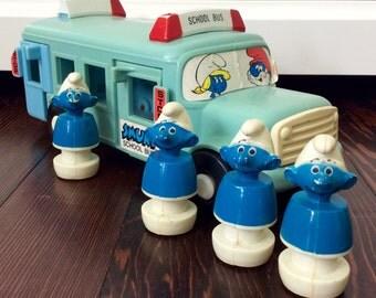 1982 Peyo Smurfs School Bus With 4 Smurfs, Vintage Smurfs, Smurfs, Smurf Toys, Collectible Smurf Toy, Smurf School Bus, Smurf Bus, Smurfs