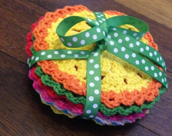 Crochet cotton coasters- pack of 6