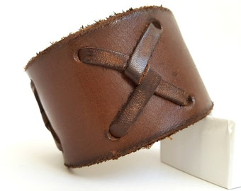 "Rugged Leather Cuff (Chocolate Brown with Crossed Xs) with Antiqued Brass Hardware, 9"" Inches Long."