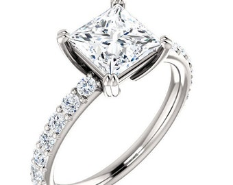 Moissanite Engagement Ring| Princess Cut Forever One| 1.70 Carats Moissanite| 18k White Gold| Diamonds| Contemporary Engagement Ring