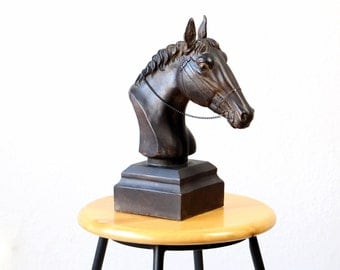 Vintage horse bust sculpture dark wood home decor horses head