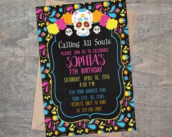 Sugar Skull Day of the Dead digital  Birthday Party Invitation | Skulls Dia de los Muertos Kids Girls Child