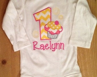 ON SALE Pink and Yellow Birthday Cupcake Shirt or Baby Bodysuit