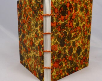 Hand-sewn Journal with Orange Marbled Paper