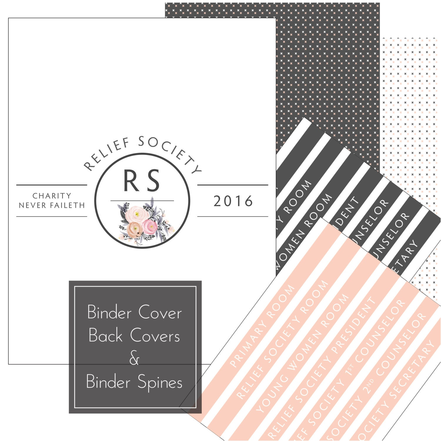 relief society presidency kit  binder covers by