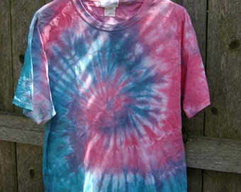 Handmade Tie Dye By Gratefully Featured : Pink, Purple , Teal Middle Swirl