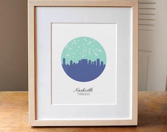 Nashville Skyline, Nashville Art, Nashville TN, Nashville Tennessee, Nashville Poster, Custom Nashville Design