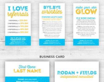Rodan and Fields Business Cards Kit Blue | Customized Printable