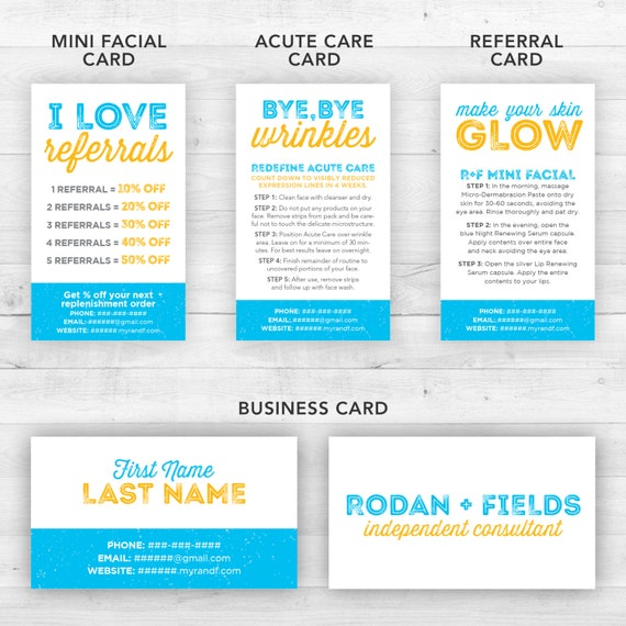 Rodan and fields business cards kit blue customized for Rodan and fields business card template