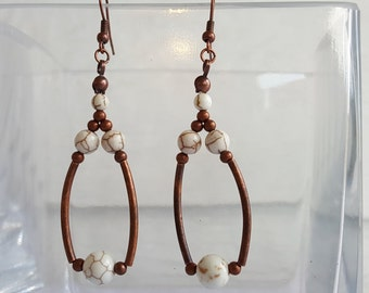 Antique Copper Dangle Earrings with White Magnesite Beads