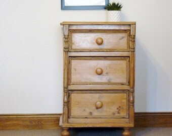 Waxed rustic pine three drawer vintage chest. Drawers, pine furniture.