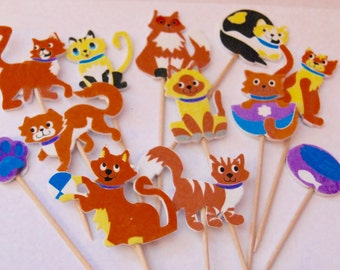 cute cats cupcake toppers food picks  birthdays 12 x cupcake toppers
