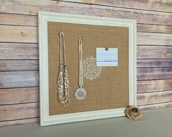 White framed bulletin board - shabby chic decor - with burlap