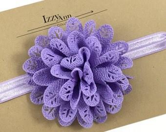 Lavender Flower girl Headband,Baby girl headband,Newborn girl Headband,Purple Headband,Toddler Gift,Baby Girl Gift,Lace Flower Girl Headband