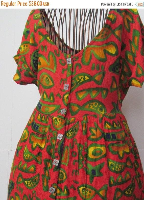 Sale 90s Summer Dress Fish Print Big Hed By Revintageboutique