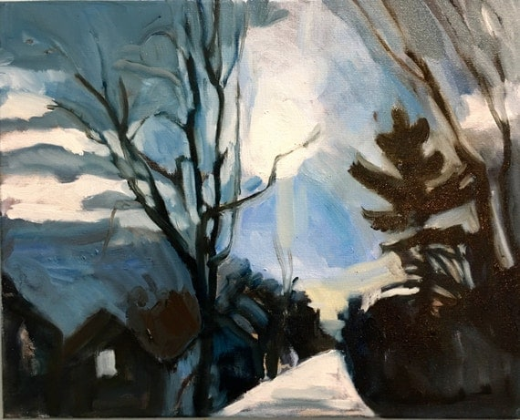 "Original Oil Painting: Winter Drive, 12"" x 16"""