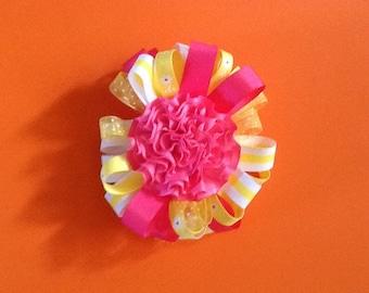 Hair bow yellow & hot pink