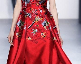 Red birds Jacquard fabric Dress Skirt Dress Fabric Brocade fabric -FSXY- 145 cm wide x 120 cm - xy