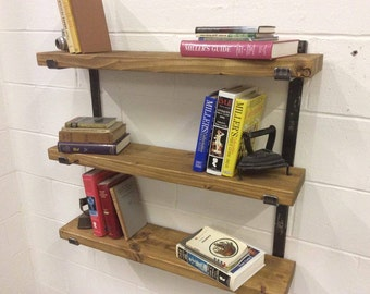 Handmade Solid Reclaimed Rustic Pine 3 Tier Solid Steel Shelving Shelf System