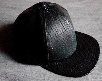 Laser Cut Leather Python Scale Baseball Hat