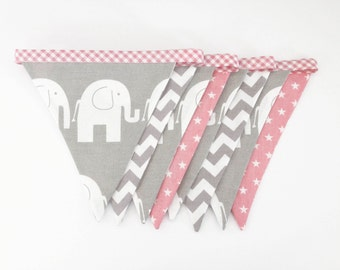 Handmade fabric bunting, elephant, chevron, grey and baby pink star colours, baby girl or childrens nursery banner flag bunting