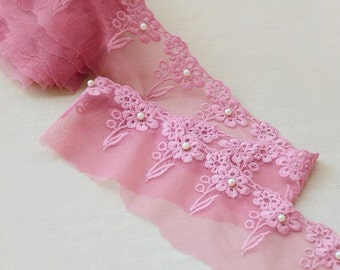 """2 Yards Lace Trim Dark Pink Tulle Pearl Flower Floral Embroidery Wedding Trim 3.14"""" width"""