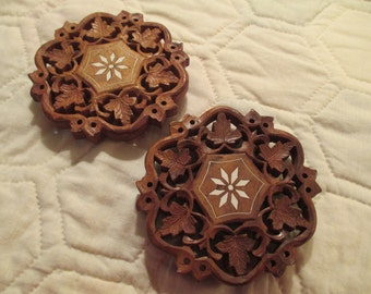Set of Two Matching Vintage Carved Trivets from India