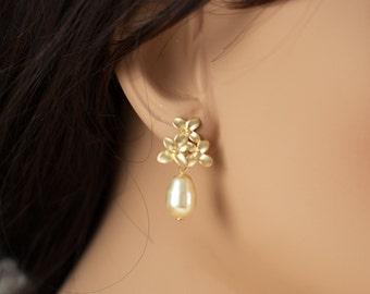 Gold cherry blossom pearl earrings flower dangle gold pearl earrings cherry blossom drop earrings pearl flower earrings bridesmaid earrings