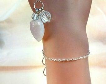 Simple Lanyard Bracelet with Quartz and Rose Quartz