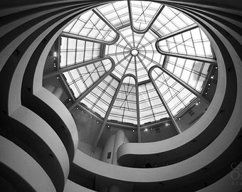 New York Print, Guggenheim Ceiling, Black and White Fine Art Photography, NYC Photography, Abstract Photography, Architecture Print