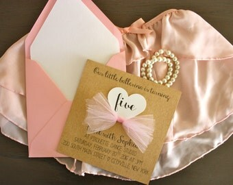 Little girl birthday/special event party invitation - princess/ballerina theme - kraft paper with tulle tutu bow