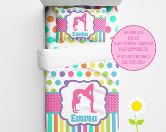 Personalized Gymnast Bedding  - Gymnastic Duvet or Comforter for Girls - Personalized Rainbow Gymnast Duvet Set - Custom Comforter for Girls