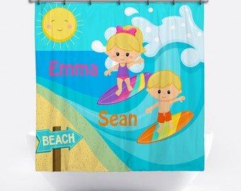 Surfer Personalized Shower Curtain for Kids - Surfing Name Shower Curtain - Custom Surfing Bath Decor - Surfer Personalized Bath Tub Curtain