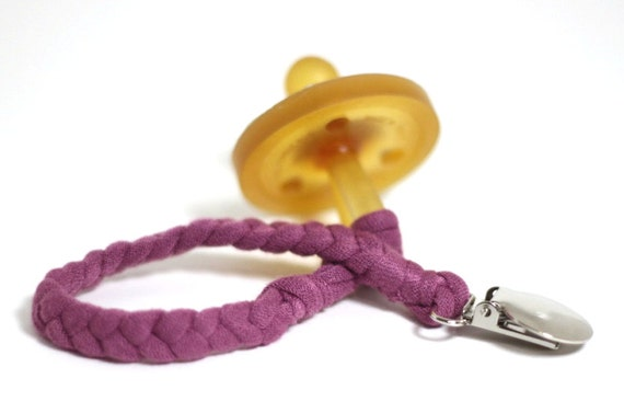 Braided Paci Holder / MAUVE Braided Pacifier Clip / soothie / binky clip / pacifier holder
