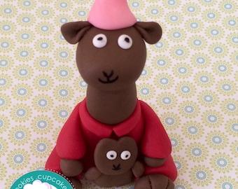 Llama Llama red pajamas inspired  fondant cake topper