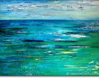Acrylic Painting Large Canvas Art Original Abstract Beach Wall Art Textured Contemporary Landscape Sea Painting Home Decor 40x28 100cmx70cm