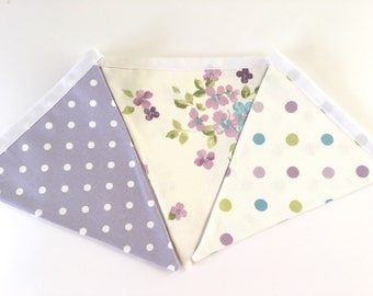 Fabric Bunting Floral Lilac Bedroom Wall Flag Hanging Shabby Chic Handmade